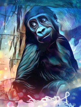 Affe KONG 7- Gorilla Kunstdruck -Hochwertiger Kunstdruck auf Leinwand  Animal Print