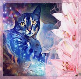 Katze LAZY CAT 4 - Katzen Kunstdruck -Hochwertiger Kunstdruck auf Leinwand  Animal Print