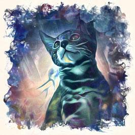 KITTY CAT 5- Katzen Kunstdruck -Hochwertiger Kunstdruck auf Leinwand  Animal Print