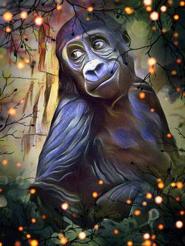 Affe KONG 5- Gorilla Kunstdruck -Hochwertiger Kunstdruck auf Leinwand  Animal Print