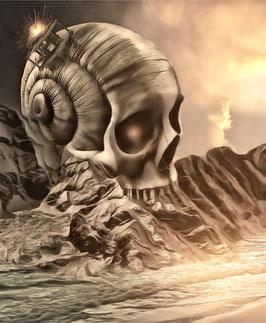 Fantasy - SKULL 6 -Fantasy Kunstdruck -Hochwertiger Kunstdruck auf Leinwand Fantasy Science Fiction