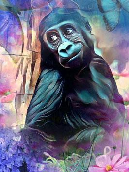 Affe KONG 6- Gorilla Kunstdruck -Hochwertiger Kunstdruck auf Leinwand  Animal Print