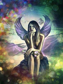Zauberhafte Welten - ENGEL 4 -Magische Wesen - Kunstdruck -Hochwertiger Kunstdruck auf Leinwand Magie