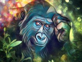 Affe KING 4 - Gorilla Kunstdruck -Hochwertiger Kunstdruck auf Leinwand  Animal Print