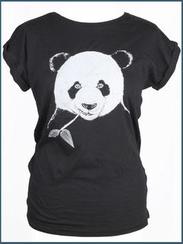 Schwarzes Rollsleeve Baumwollshirt Panda