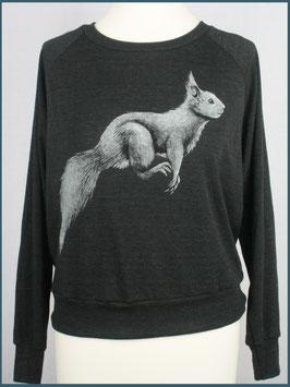 Leichter Frauenpullover dunkelgrau Eichhörnchen