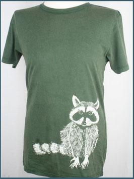 Grünes Herren Bio Baumwollshirt Waschbär