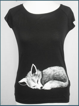 Schwarzes Frauen Bambusshirt Fuchs