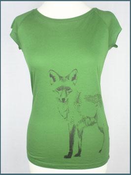 Blattgrünes Frauen Bambusshirt Fuchs stehend