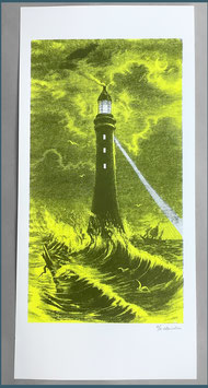 Papierdruck Blausalzen Leuchtturm Gelb