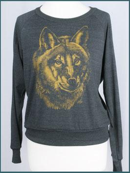 Leichter Frauenpullover dunkelgrau Wolf
