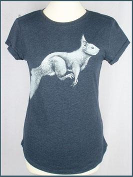 Navymeliertes Recycled Rollsleeve Shirt Eichhörnchen