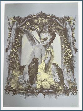 Papierdruck Brookesia Frau mit Adlern