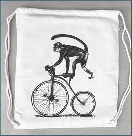 Rucksack Naturweiß Affe auf Fahrrad