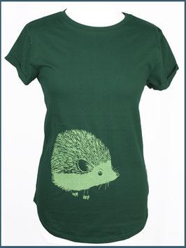 Grünes Recycled Rollsleeve Shirt Igel
