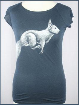 Denimblaues Frauen Bambusshirt Eichhörnchen