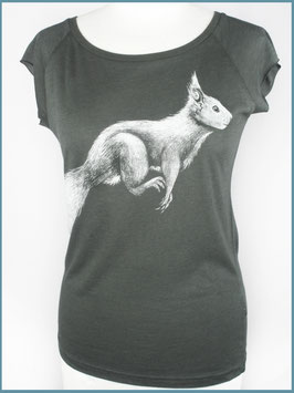 Anthrazitgraues Frauen Bambusshirt Eichhörnchen