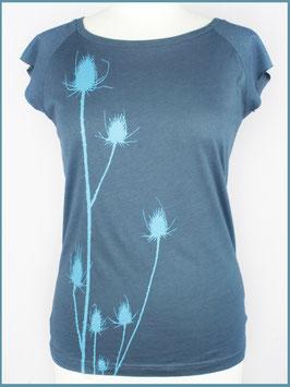 Denimblaues Frauen Bambusshirt Distel