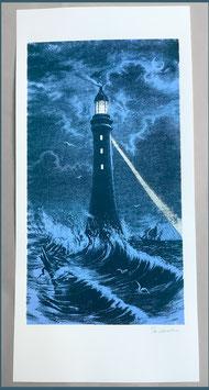 Papierdruck Blausalzen Leuchtturm Dunkelblau