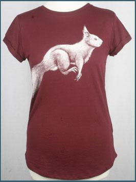 Weinrotess Recycled Rollsleeve Shirt Eichhörnchen