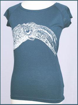 Denimblaues Frauen Bambusshirt Tintenfisch