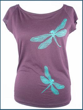 Aubergines Frauen Bambusshirt Libelle