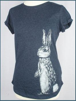 Navymeliertes Recycled Rollsleeve Shirt Hase