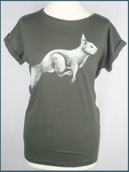 Anthrazitgraues Rollsleeve Baumwollshirt Eichhörnchen