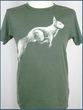 Grünes Herren Bio Baumwollshirt Eichhörnchen