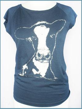 Denimblaues Frauen Bambusshirt Kuh