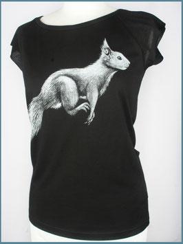 Schwarzes Frauen Bambusshirt Eichhörnchen
