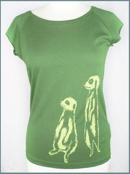 Blattgrünes Frauen Bambusshirt Erdmännchen
