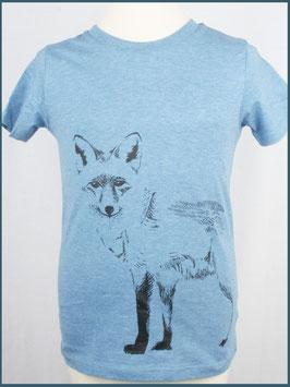 Kindershirt Biobaumwolle blaumeliert Fuchs