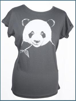 Anthrazitgraues Rollsleeve Baumwollshirt Panda