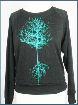 Leichter Frauenpullover dunkelgrau Baum