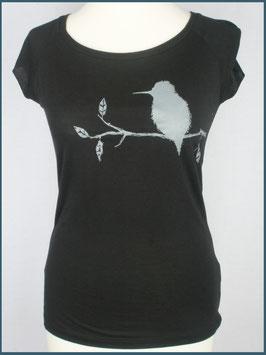 Schwarzes Frauen Bambusshirt Eisvogel