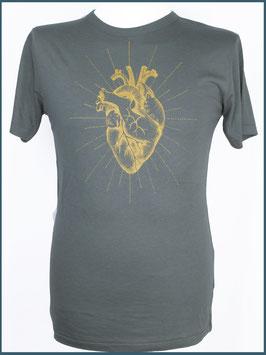 Graues Herren Bambusshirt Anatomisches Herz