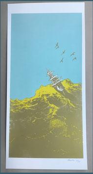 Papierdruck Blausalzen Schiff Gold / Blau