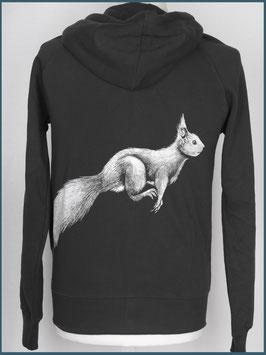 Kapuzenjacke Eichhörnchen, Schwarz