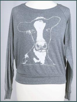 Leichter Frauenpullover hellgrau Kuh