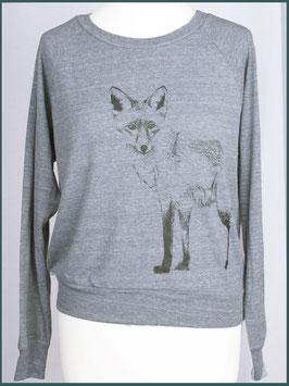 Leichter Frauenpullover hellgrau Fuchs stehend