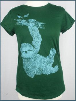 Grünes Recycled Rollsleeve Shirt Faultier