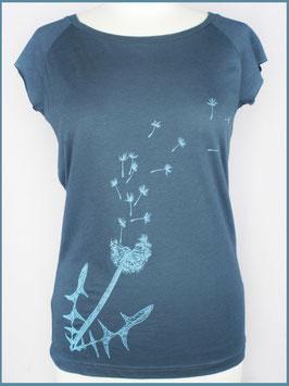 Denimblaues Frauen Bambusshirt Pusteblume