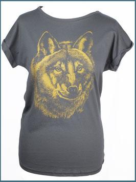 Anthrazitgraues Rollsleeve Baumwollshirt Wolf
