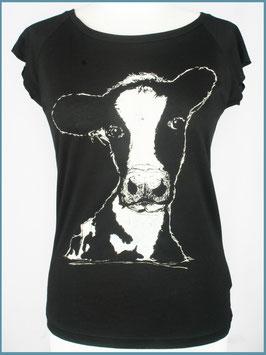 Schwarzes Frauen Bambusshirt Kuh