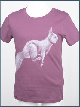 Kindershirt Biobaumwolle Mauve Eichhörnchen