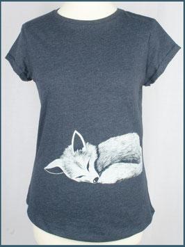 Navymeliertes Recycled Rollsleeve Shirt Fuchs