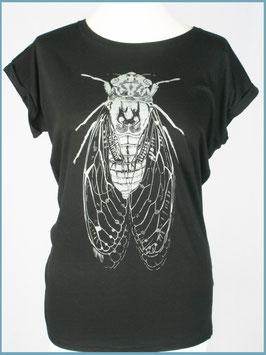 Schwarzes Rollsleeve Baumwollshirt Zikade