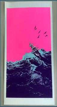 Papierdruck Blausalzen Schiff Neonpink