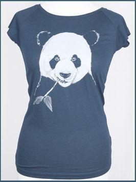 Denimblaues Frauen Bambusshirt Panda